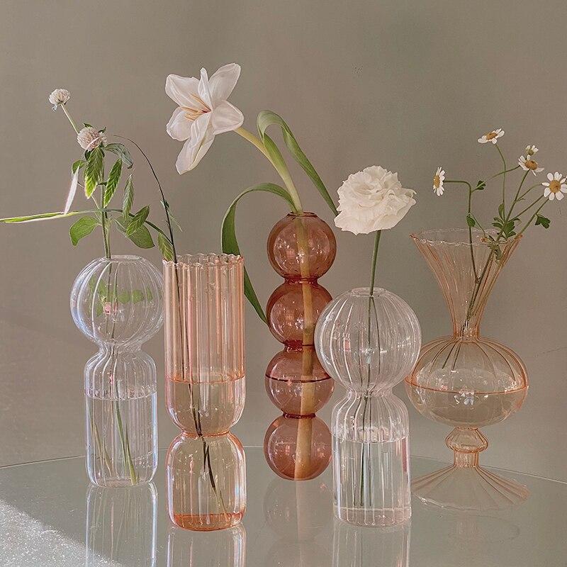 פרח אגרטל לחתונה דקור מרכזי זכוכית אגרטל מודרני שולחן חממה זכוכית מכולות בעבודת יד שולחן נורדי אגרטל