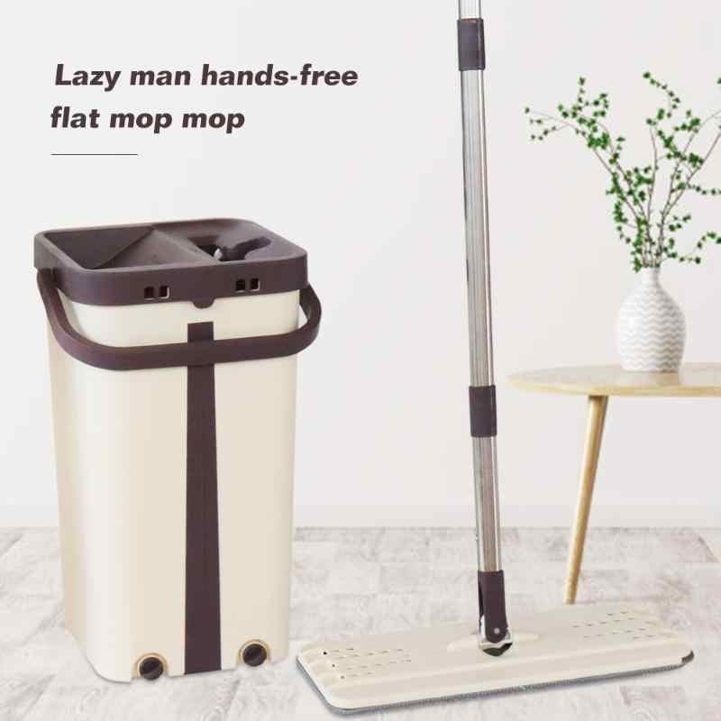 Rotasi Otomatis Datar Squeeze Past Bebas Tangan Cuci Pel Lantai dengan Ember Microfiber Pel Pengganti Kain Pembersih Rumah Tangga alat