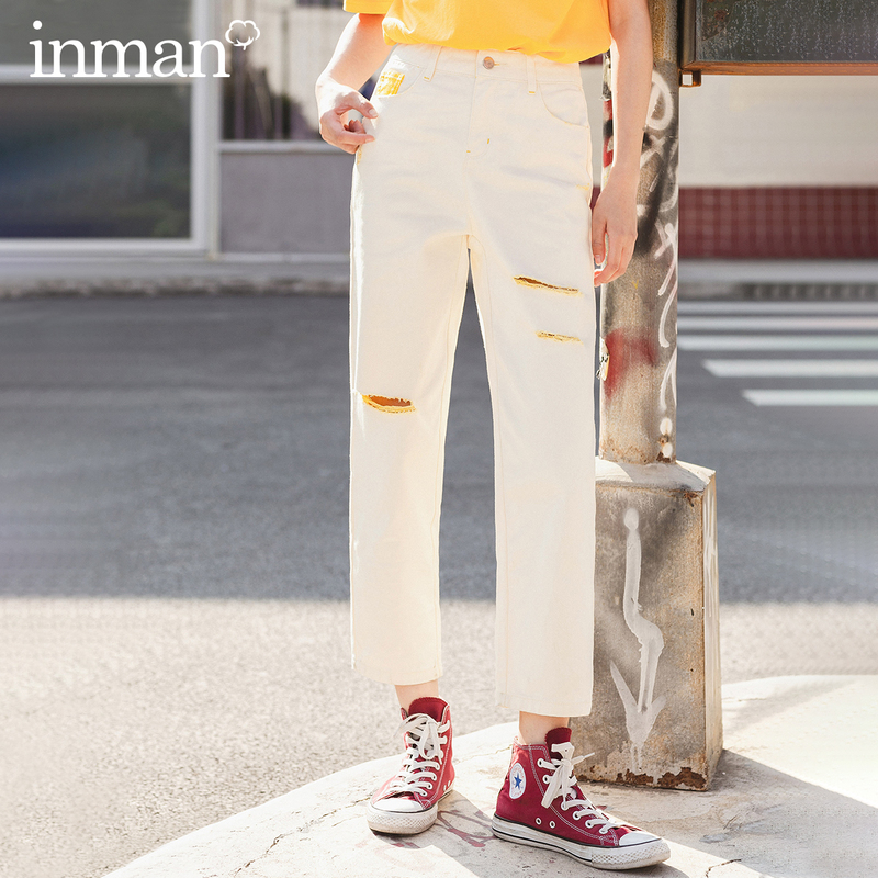 INMAN 2020 Summer New Arriavl Pure Cotton Fashion Hole Japanese Style Loose Turnip Pant