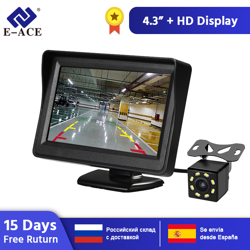 E-ACE J01 Car/ Truck Monitor 4.3 Inch TFT LCD Screen With Auto Reversing Parking Line Rear View Camera Reversing Safety Monitors