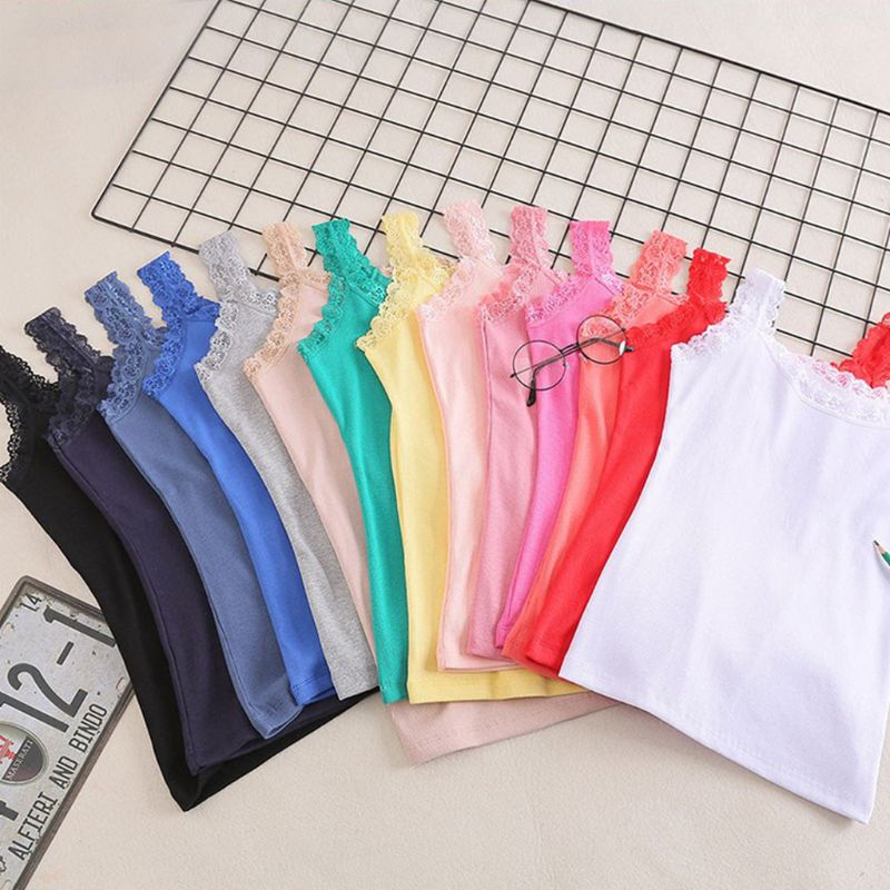 Women Summer Sleeveless Tank Top Bright Solid Candy Color Basic Camisole Floral Lace Trim Ribbed Knit Casual Underwear Slim Vest