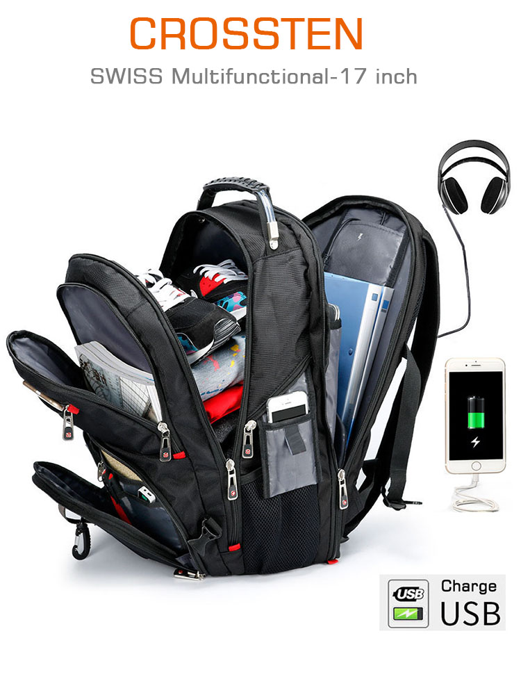 Laptop Backpack Travel-Bag College-Bookbag 17inch Swiss-Multifunctional Durable Water-Resistant