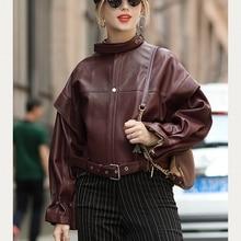 Kobiety płaszcze 100% prawdziwej skóry 2019 Fashion Lady z naturalnej owczej skóry długie rękawy kurtki wysokiej jakości miękkie