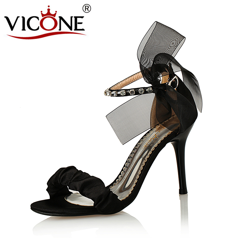 VICONE Women Summer Pointed Toe Party Wedding Crystal Riband Sweet Fashion Heels V408796