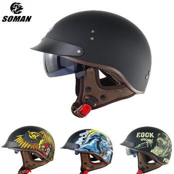 цена на Summer Half Helmet Cool Printed Dot Half Face Capacete De Moto Retro Scooter Helmet Motorcycle Vintage Motorad Helm Motor Kask