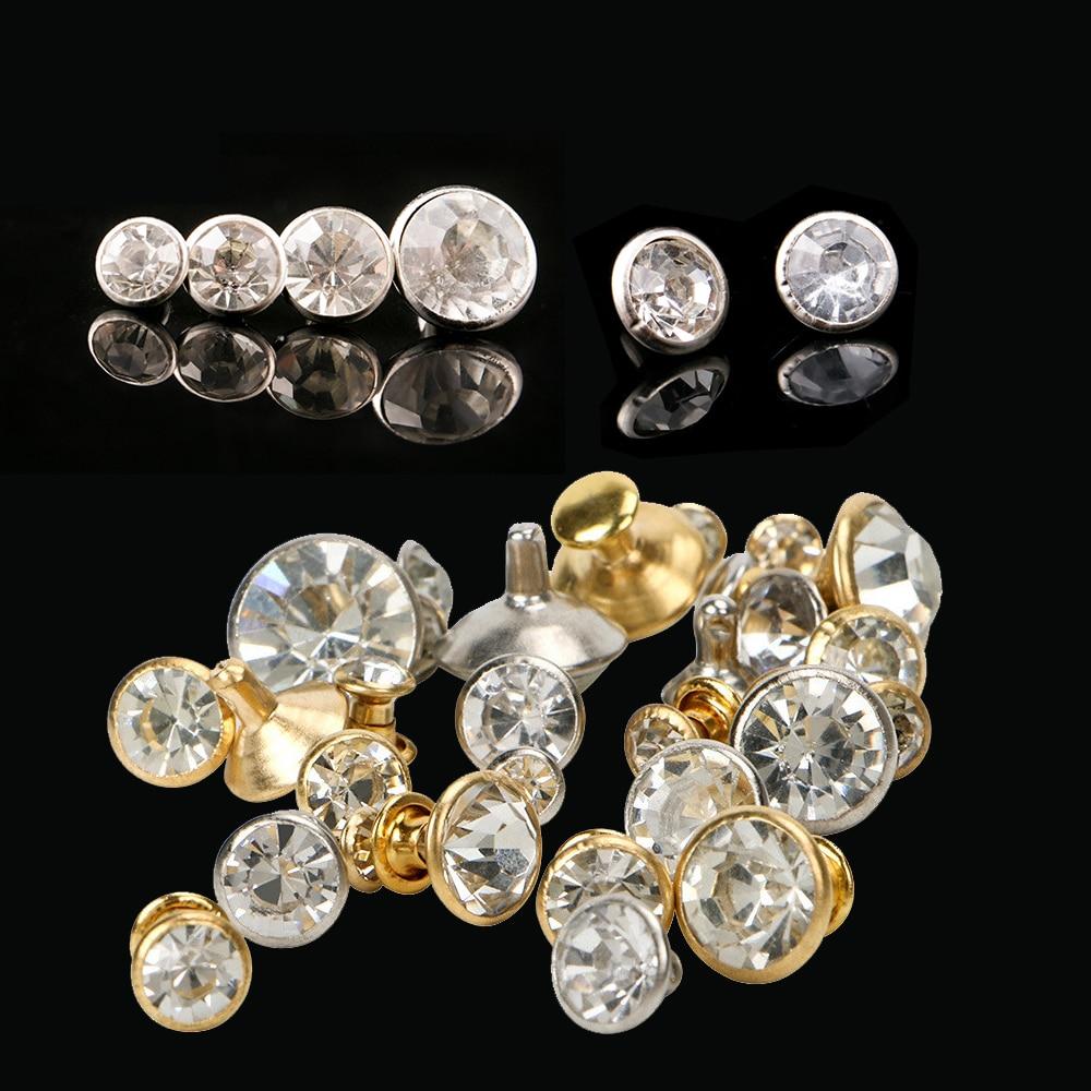 1000Sets 5-11mm Crystal Rhinestone Trim Rivets Diamante Studs DIY Clothing Bag Leather Decorative Rebite Spikes Glass Drill Nail