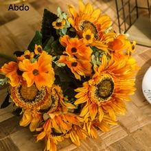 45cm  Artificial Sunflower Flowers Bouquet Silk 9 Big Head High Quality Home Decoration Accessories Thanksgiving