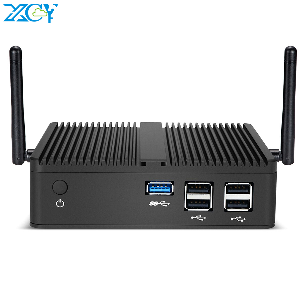XCY Mini PC Intel Celeron J1900 Quad ბირთვები Windows 10 Linux DDR3L RAM mSATA SSD VGA HDMI WiFi Gigabit LAN 5xUSB HTPC Fanless