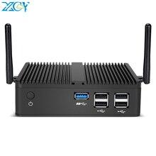 XCY Mini PC sans ventilateur Intel Celeron J1900 quatre cœurs Windows 10 Linux DDR3L RAM mSATA SSD VGA HDMI WiFi Gigabit LAN 5xUSB HTPC