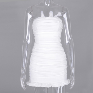Image 4 - NewAsia Double Layers White Summer Dress 2020 Women Strapless Ruched Bodycon Dress Elegant Club Sexy Party Dress Tight Dresses
