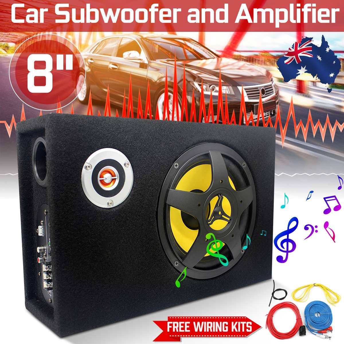Modified-Speaker Subwoofers Audio-Bass-Amplifier Car-Audio Auto Under-Seat 8inch Stereo