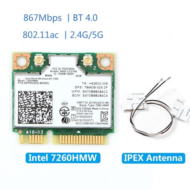 Kablosuz 7260HMW Mini PCI E kart Intel AC 7260 çift bant 867Mbps 802.11ac 2.4G/5G Bluetooth 4.0 + 2x U.FL IPEX anten