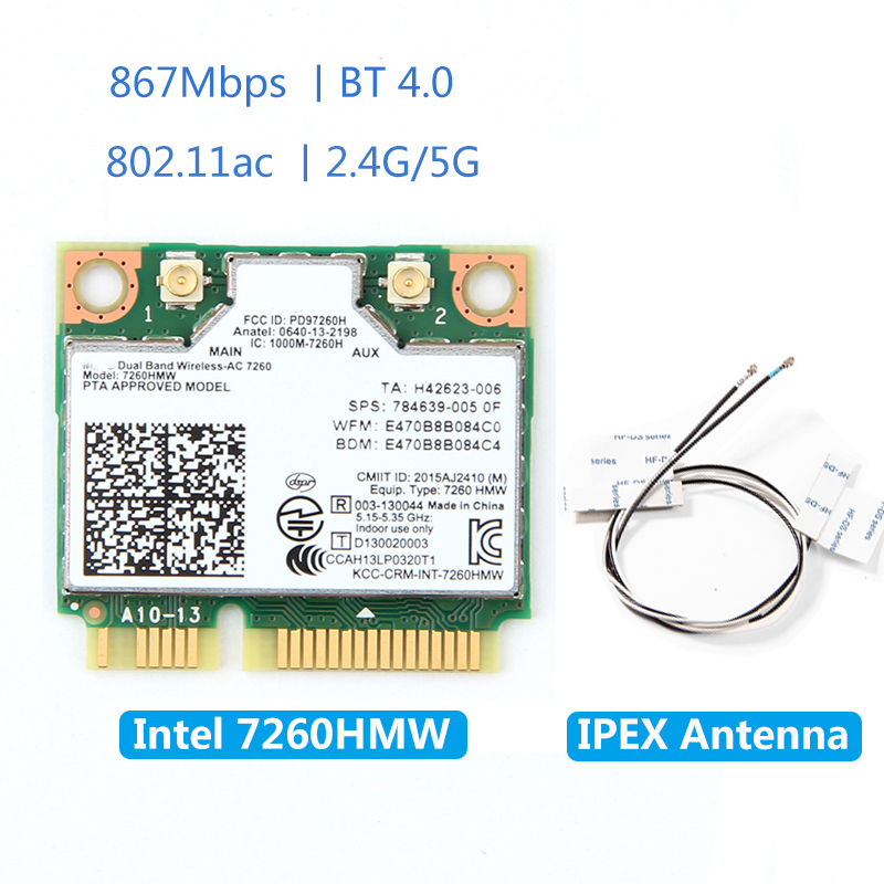 Wireless 7260HMW Mini PCI-E Card For Intel AC 7260 Dual Band 867Mbps 802.11ac 2.4G/5G Bluetooth 4.0 + 2x U.FL IPEX Antenna
