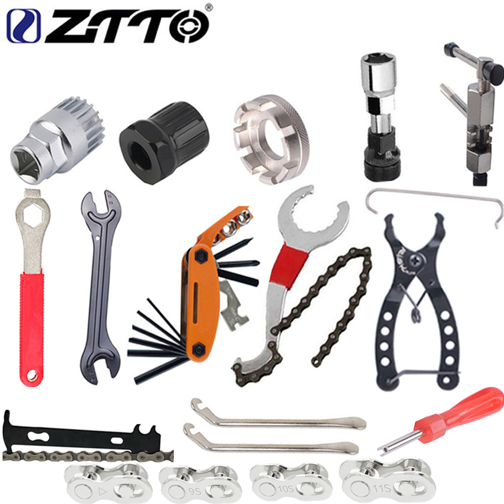 ZTTO 자전거 수리 도구 키트 플라이휠 리무버 소켓 하단 브래킷 제거 소켓 체인 커터 크랭크 제거 도구 자전거 부품