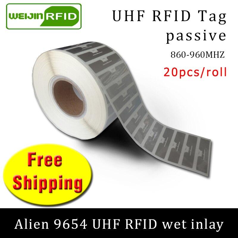 UHF RFID Tag Sticker Alien 9654 Wet Inlay 915m868 860-960mhz Higgs3 EPC 6C 20pcs Free Shipping Self-adhesive Passive RFID Label