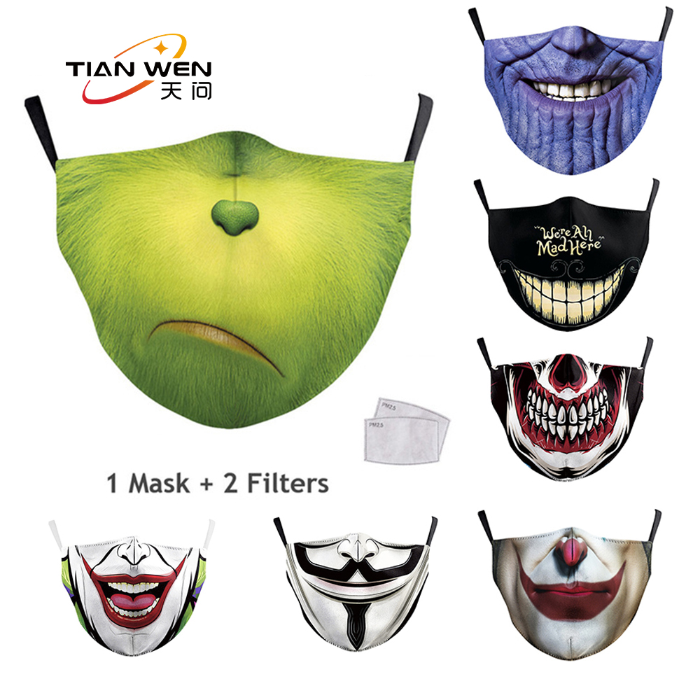 Joker Funny Pattern Print Grimace Ghost Skeleton Half Face Adult Mask Reusable Protective Dustproof Washable Mask With 2 Filters