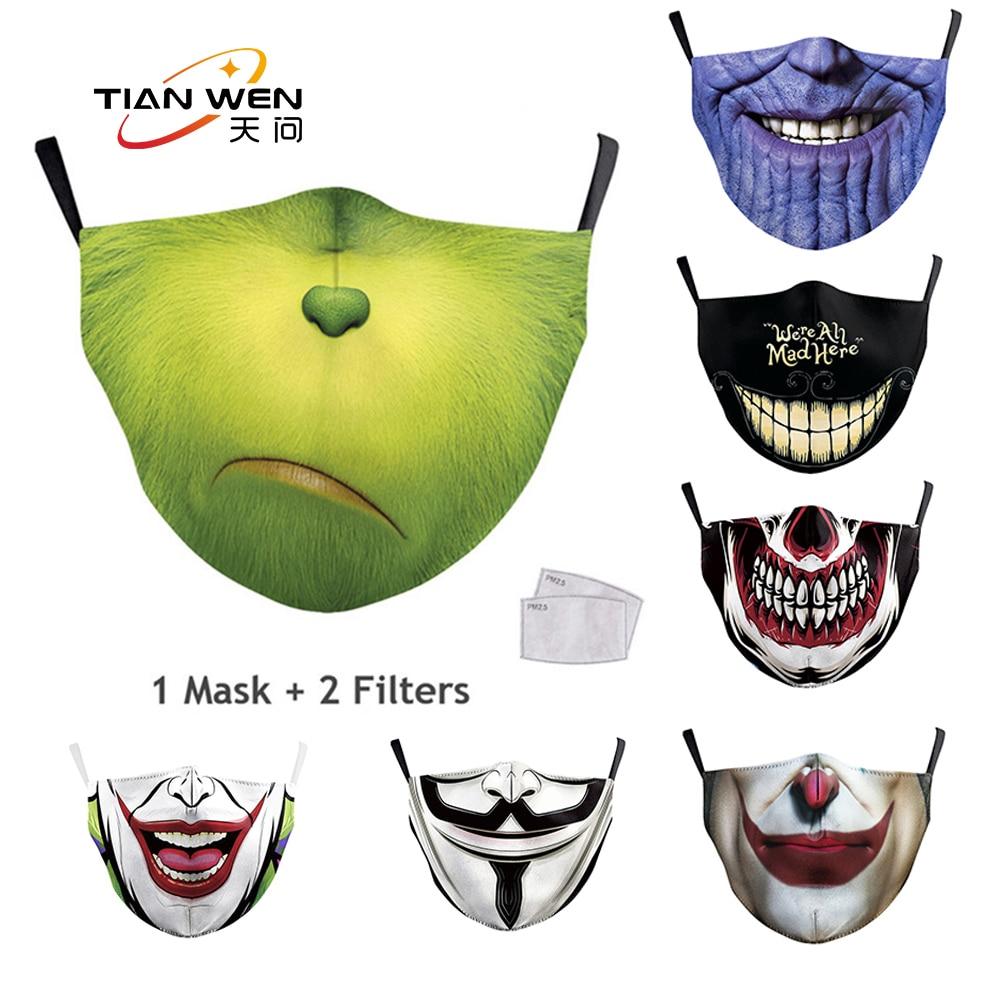 Joker Funny Pattern Print Grimace Ghost Skeleton Half Face Adult Mask Reusable Protective Dustproof Washable Mask With 2 Filters