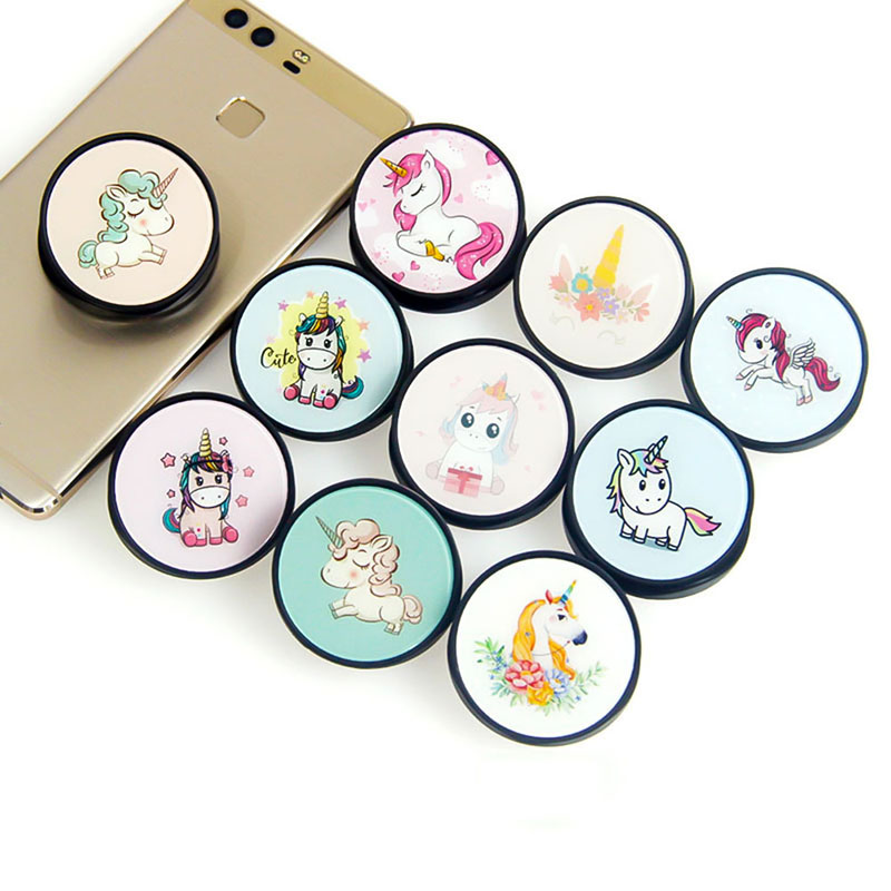 Cute Unicorn Cartoon Round Universal Mobile Phone Ring Holder Airbag Gasbag Fold Stand Bracket Mount For All Phone