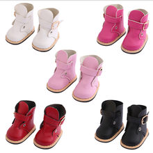 Doll Shoes Fit 17 inch 43cm Baby New Born Doll Accessories Big mouth red black pink boots and leather shoeFor Baby Birthday Gift