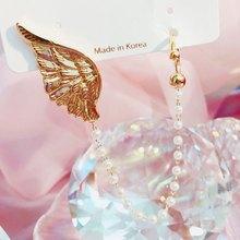 MENGJIQIAO-Clips de oreja 2 en 1 para mujer, diseño de ala de Metal, borla de perla elegante, joyería para el cartílago falsa sin Piercing, 2020
