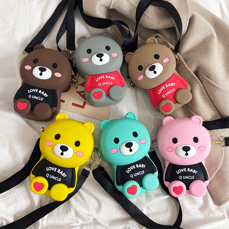 High Quality Women Cartoon Bear Handbag Luxury Messenger Bag Soft Silicone Shoulder Fashion Ladies Crossbody Bags Female Bolsas