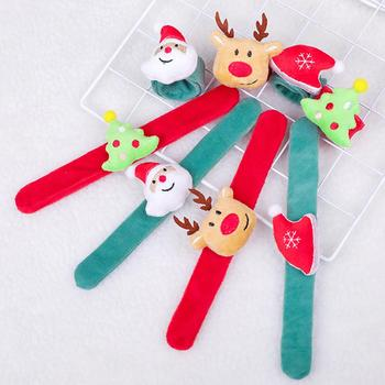 Christmas Festival Santa Deer Hat Tree Pat Band Circle Handle Bracelet Wristband Party Toys Kids Gift image