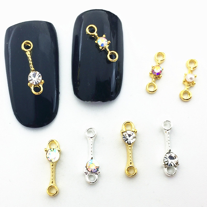 Japanese-style Diamond Set Symphony Small Alloy Nail Ornament Metal Strip Ring Pearl Phototherapy Nail DIY Stickers