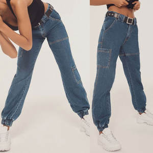 Mom Jeans Harem-Pants Push-Up High-Waist Large-Size Women Denim for with Ladies -J30