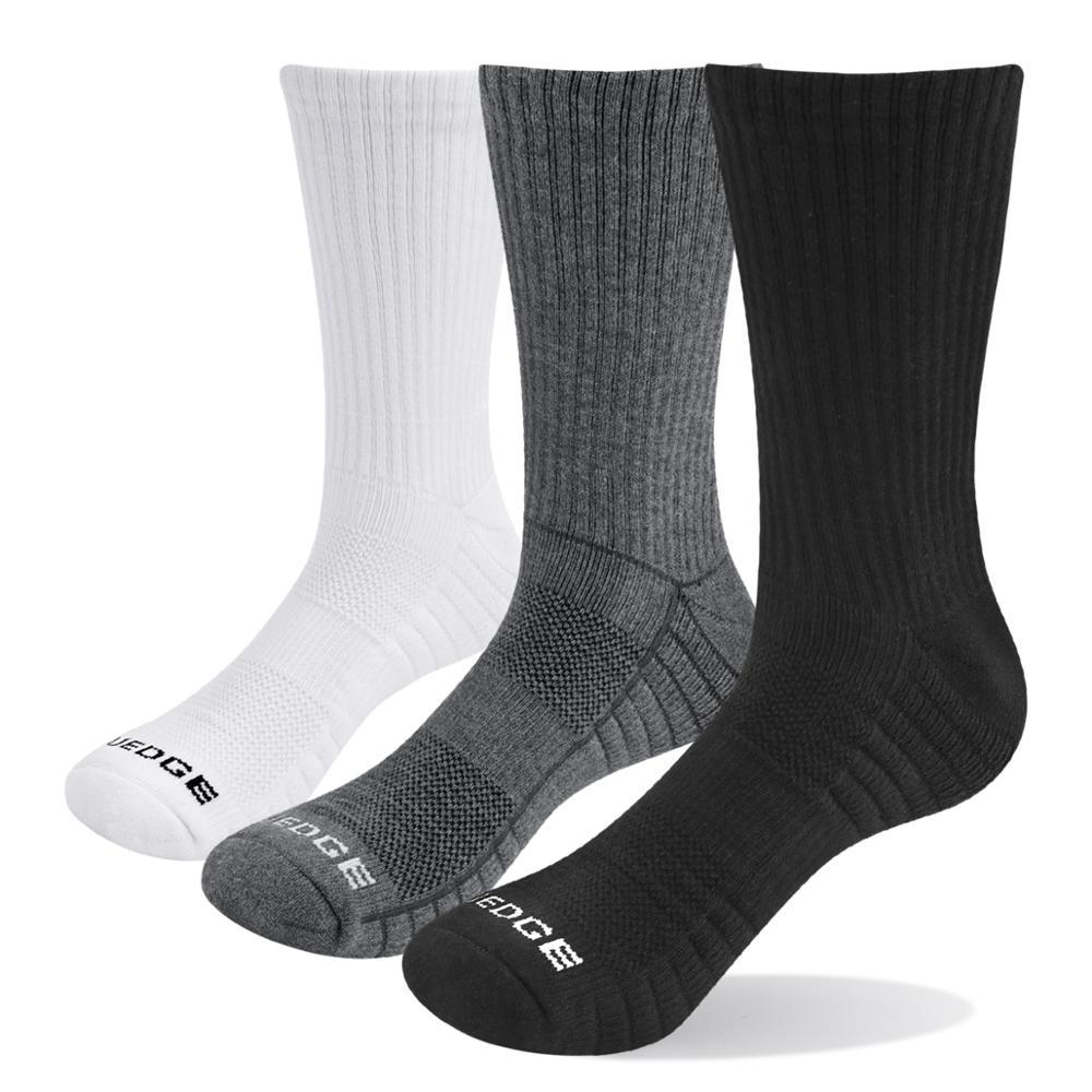 YUEDGE Brand Men Wicking Cushion Cotton Crew Athletic Tennis Golf Sport Casual Running Socks( 3 Pairs/Pack)