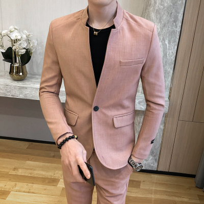 2 Piece Men Complete Suit Set Pink Stand Collar Suits Slim Fitness Dress Costume Chinese Suits Boys Tuxedo Desiger Mariage 2020