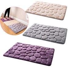 40x60cm 3D Stone Nonslip Carpet Shower Floor Pebble Flannel Bathroom Bath Rug flower pattern flannel nonslip bath mat
