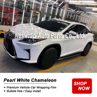 premium pearl white Vinyl wrap chameleon pearl white gold wrapping film Bubble Free Full Vehicle Car styling easy install