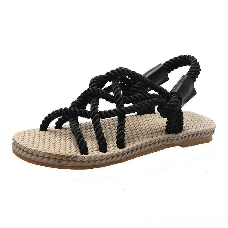 Sandal Wanita Sepatu Dikepang Tali dengan Tradisional Gaya Kasual dan Sederhana Kreativitas Fashion Sandal Wanita Musim Panas Sepatu