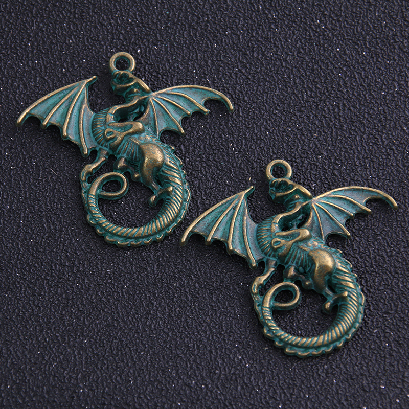 4pcs/lot 28*37mm two color Metal Alloy Dragon Jewelry Pendant Charms Animal Charm(China)