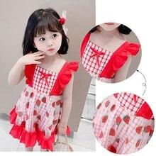 1Fashion Summer Girl Dress Ruffles Children Kids Dresses for Red Girls Cute Strawberry