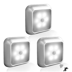 Image 3 - 6led pirモーションセンサーナイトライトledキャビネットナイトランプバッテリーセンサーライトクローゼットワードローブ階段廊下ホーム寝室