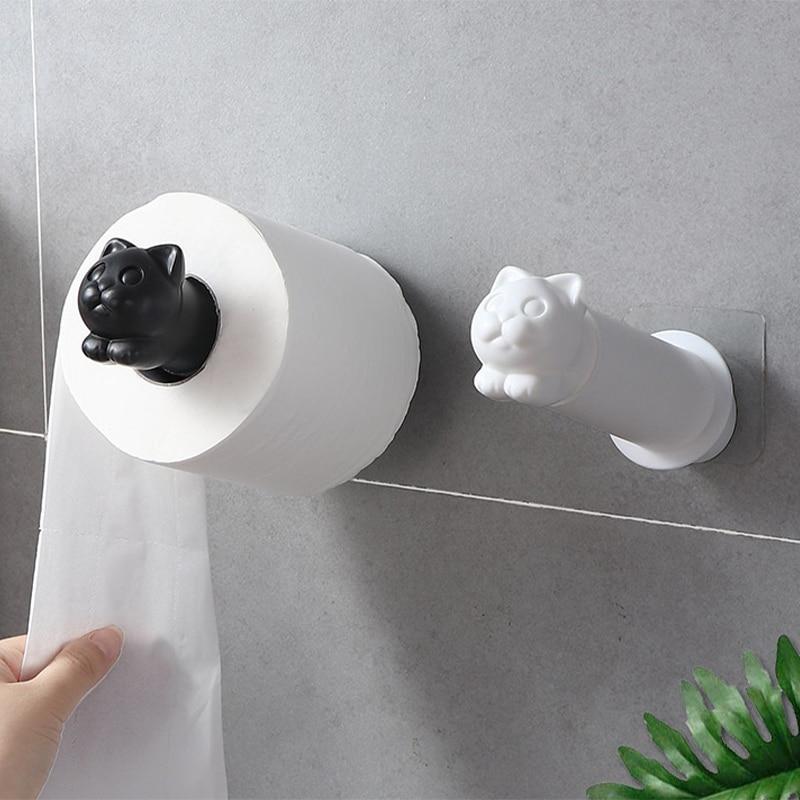 Creative Cat Toilet Paper Holder Kitchen Roll Holder Adhesive Bathroom Tissue Hanger Bath Accessories