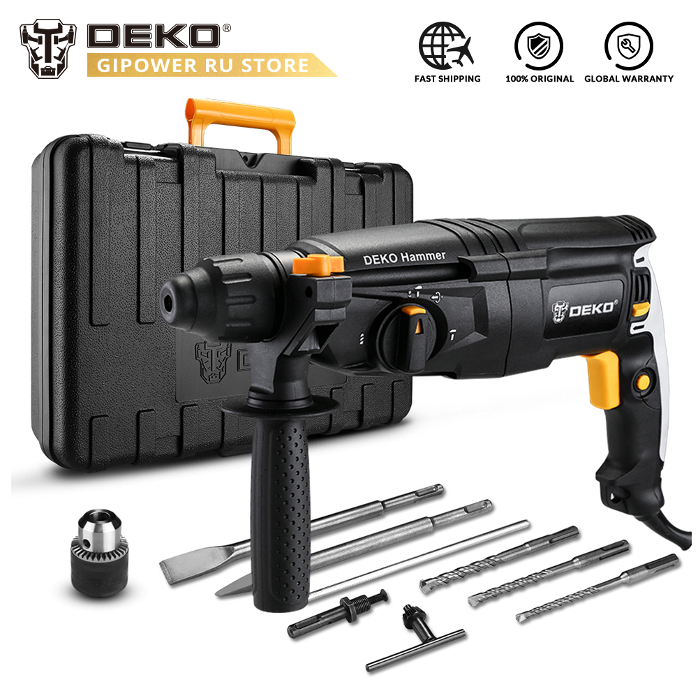 DEKO GJ181 220V AC 26mm Electric Rotary Hammer  4 Speed Adjustable Impact Power Tool For Woodworking With BMC