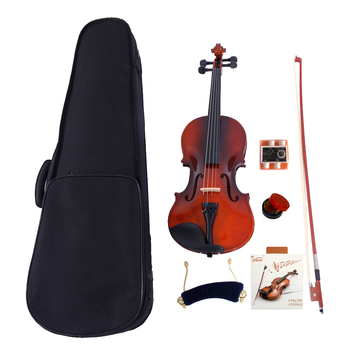 1/8 Natural Acoustic Solid Wood Violin Case Bow Rosin Strings Shoulder Rest Tuner For The Violin Enthusiast