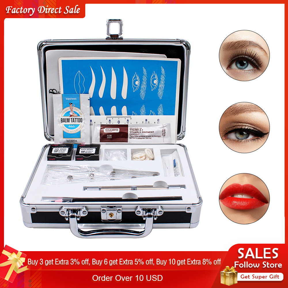 Permanent Makeup Kit Microblading Neddle Eyebrow Pencil Manual Pen Practice Skin Ruler Inkcups Microblading Pigment Tattoo Kit