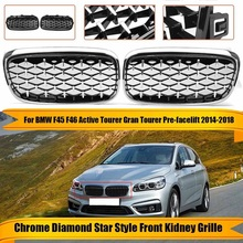 Chrome Diamond Style Kidney Grille Grill Bumper for -BMW F45 F46 Active Tourer 14-18