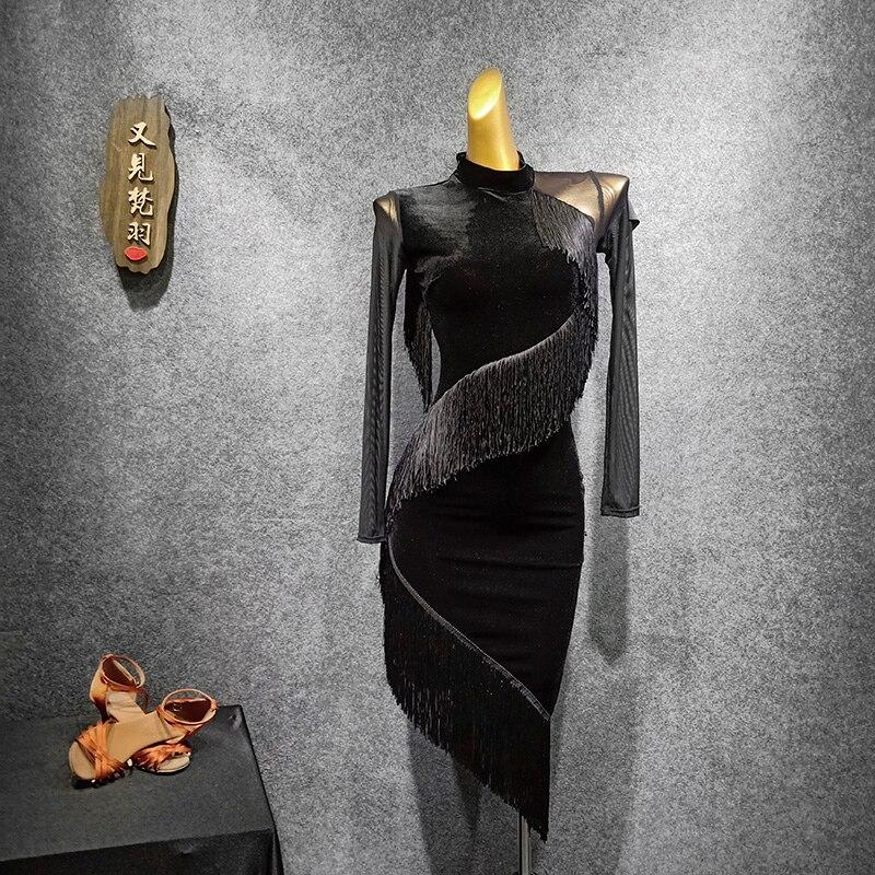 Сексуальное платье для латинских танцев, вечерние костюмы с кисточками, платье для сальсы, одежда для джазовых танцев, современные танцевальные костюмы, бальное платье для латинских танцев - Цвет: Black