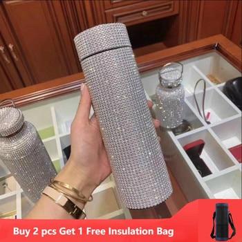 500ml Creative Diamond Thermos Bottle Water Bottle Stainless Steel Smart Temperature Display Vacuum Flask Mug Gift for Men Women