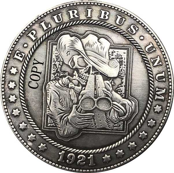 Hobo Nikkel 1921-D Vs Morgan Dollar Munt Copy Type 193