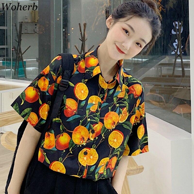 Woherb Summer New Fruit Pattern Print Short Sleeve Shirts Vintage Casual Loose Blouse Women Korean Fashion Tops Female 91659