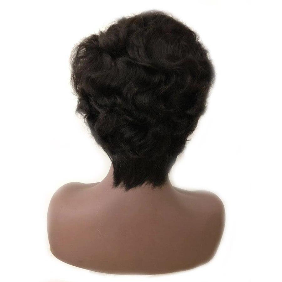 13x6 Remy brésilien court Pixie cheveux humains perruques pour les femmes rebondissantes bouclés sans colle couleur noire (côté frange coupe) 150% densité - 5