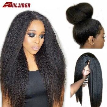 Anlimer peluca rizada recta sin pegamento brasileña 150% pelucas de cabello humano con frente de encaje para mujeres negras peluca Remy Yaki pre-desplumada