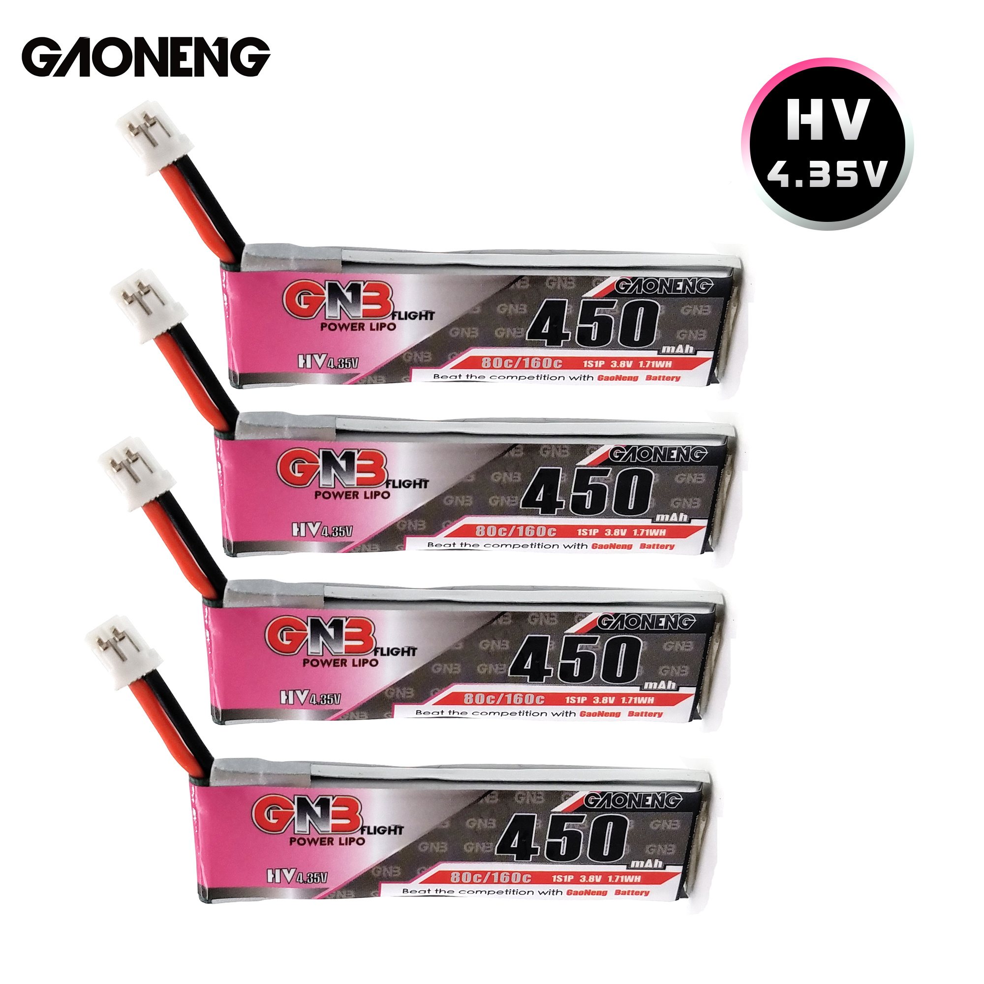 Gaoneng GNB 1S HV 4.35V 450mAh LiPo Battery 80 With PH2.0 Plug For RC FPV Small Drone TINY7