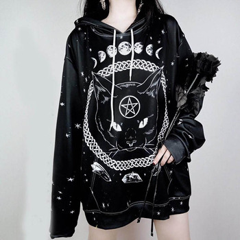 Oversized Gothic Style Hoodies Women Long Sweatshirts Autumn Winter Black Punk Casual Hooded Tops Moon Cat Printing New