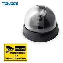Cámara falsa Towode para exteriores, cámara falsa de vigilancia para interiores, cámara de seguridad CCTV con luz LED roja intermitente